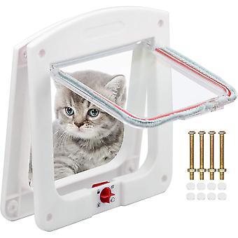 Katzenklappe und Hund Katzenklappe Adapter Wasserdichte Katzenklappe mit 4-Wege-Drehverschluss für kleine Hunde, weiß