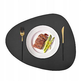 Placemat Round Table Szőnyeg Konyhaasztal Szőnyeg vízálló, olajálló és hőszigetelő bőr asztalszőnyeg sötétszürke 4 db