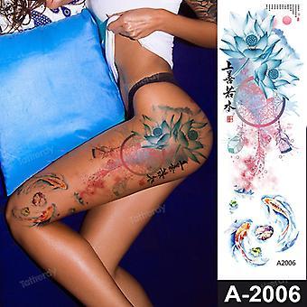 Sexy Fake Tattoo für Frau Wasserdicht Temporäre Tattoos Großes Bein Oberschenkel Körper Tattoo Aufkleber Pfingstrose Lotus Blumen Fisch Drache