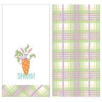 Celebrate Spring Bunny with Carrot Purple Plaid Twill Towels 2 Piece Kitchen Set