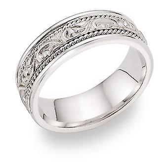 Paisley Design Wedding Band 14K White Gold