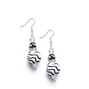 Zebra Animal impressão strass vidro frisado Kate e Macy ' s brincos