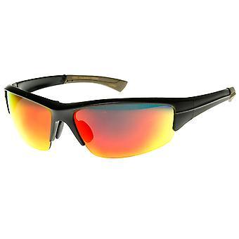 Premium Sport pół-bez oprawek kolor lustro soczewki Sport Wrap okulary