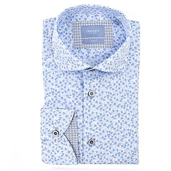 Tresanti Mens White Shirt With Small Blue Flowers