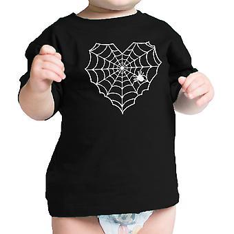 قلب العنكبوت ويب الطفل الأسود التي شيرت مضحك الرضع المحملة لجميع القديسين