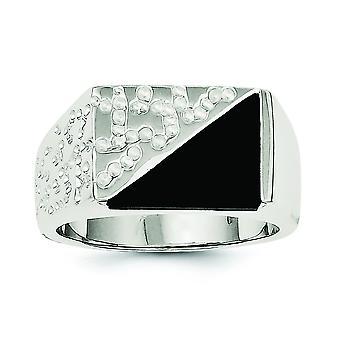 925 Sterling Argento Solido Polacco Aperto Indietro Mens Cubic zirconia e Anello Onyx simulato - Dimensione anello: 9 a 11