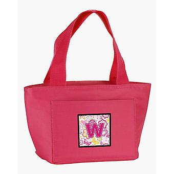 Letter W Flowers and Butterflies Pink Lunch Bag