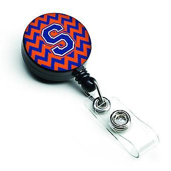 Letter S Chevron Orange and Blue Retractable Badge Reel