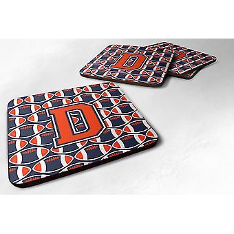 Set van 4 Letter D voetbal oranje, blauw en wit schuim onderzetters Set van 4