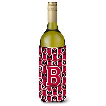 Bokstaven B fotball Crimson og hvit vinflaske drikke isolator Hugger