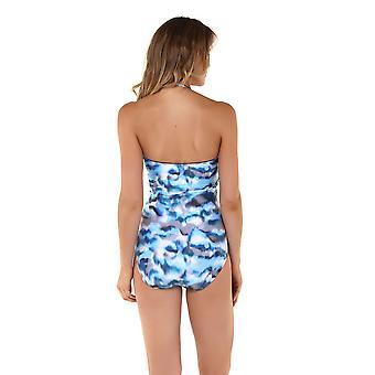 Seaspray 05-2098 Women's Casablanca Blue and Beige Storm Print Shaping Swimsuit
