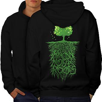 Earth Tree Roots Nature Men BlackHoodie Back | Wellcoda