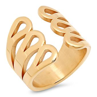 Ladies 18K Gold Plated Stainless Steel Gladiator Cuff Ring