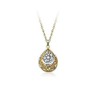 Womens Gold And White Hollow Teardrop Necklace