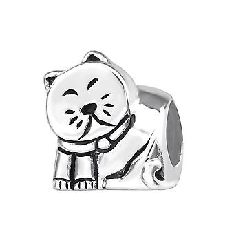 Cat - 925 Sterling Silver Plain Beads - W22698x
