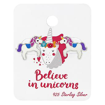 Unicorn Lover Ear Studs On Card - 925 Sterling Silver Sets - W34106x