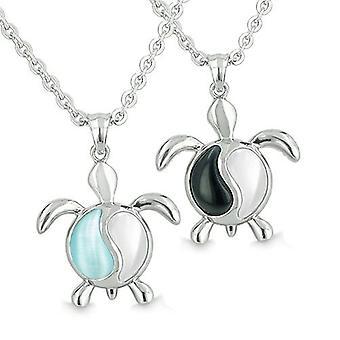 Amulettes Yin Yang tortues équilibre Couples meilleurs amis Onyx blanc Blue Cats Eye Pendentif colliers