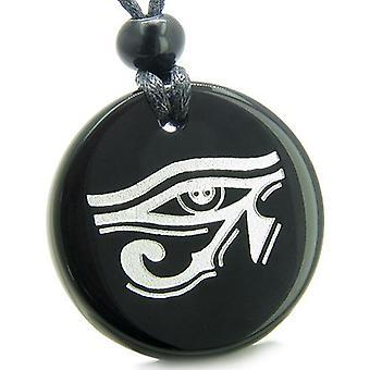 Amulett alle sehende Auge des Horus ägyptische Magie Schutz echten Onyx Medaillon Anhänger Halskette