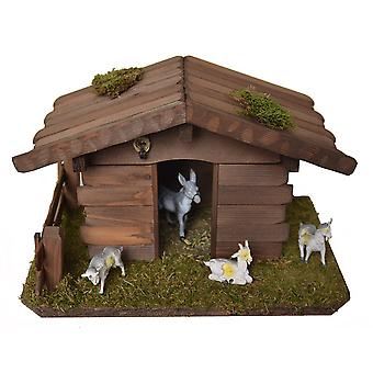 Small animal Hutch with donkey and 3 goats for Christmas Nativity crib accessories stable