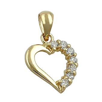 Gylne hjerte anheng gull 375 anheng, hjertet med zirkonier, 9 KT gull
