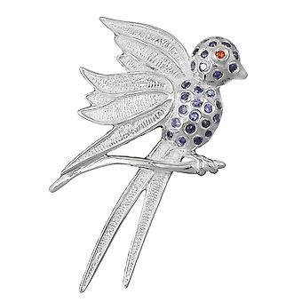 Anhänger silber Einhänger VOGEL Kolibri lila Glassteine Kettenanhänger 925 Silber