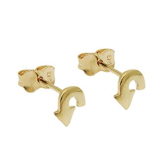 Plug 6x5mm turn arrow shiny 9Kt GOLD