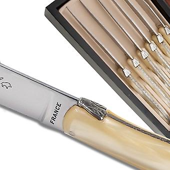 Set of 6 Laguiole steak knives champagne color plexiglass handles Direct from France