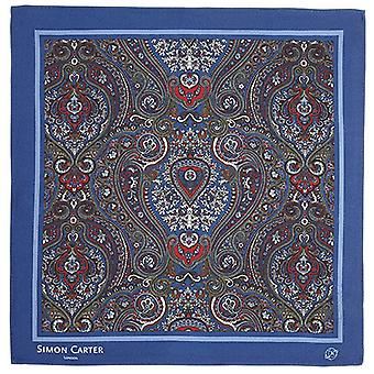 Simon Carter Framed Paisely Silk Pocket Square - Navy