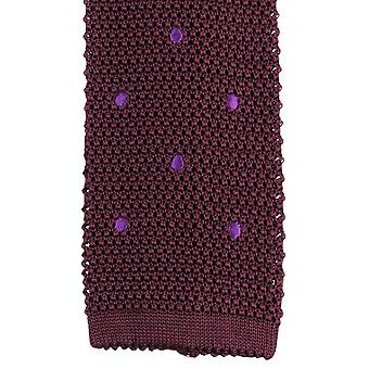 KJ Beckett Pois Brode Silk Tie - Claret Burgundy/Purple