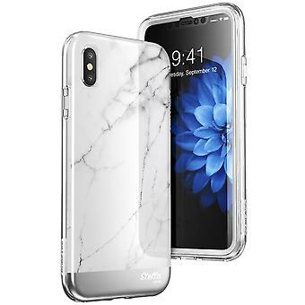 iPhone Xs tapauksessa [yksisarvinen Beetle Stella sarja] Premium Glitter asia on sisäänrakennettu näytön suojella 2018 (marmoria)