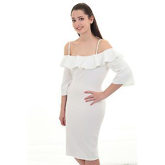 Ladies 3/4 Sleeve Bardot Off Shoulder Knee Length Ruffle Frill Bodycon Dress
