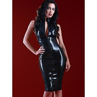Skin Two Clothing Women's Sexy Long Dress High Neck Sleeveless in Rubber