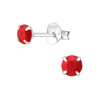 Round 4mm - 925 Sterling Silver Colourful Ear Studs - W36258x