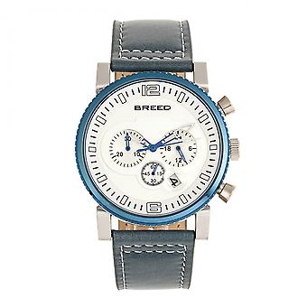 Breed Ryker Chronograph Deri Bant İzle w/Date - Teal/Silver