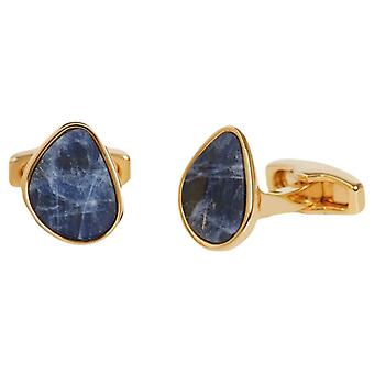 Simon Carter Organic Pebble Soladite and Gold Cufflinks - Blue/Gold