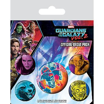 Gardienii din Galaxy 2 Button set cosmic colorate, imprimate, realizate din tablă de metal, 1X x 3,8 cm, 4x x 2,5 cm.