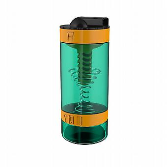 Intelishake Techno Orange - Shaker Bottle Multi-Compartment Protein/Workout/Juice with Water Carbon Filter for Sports Exercise & Gym