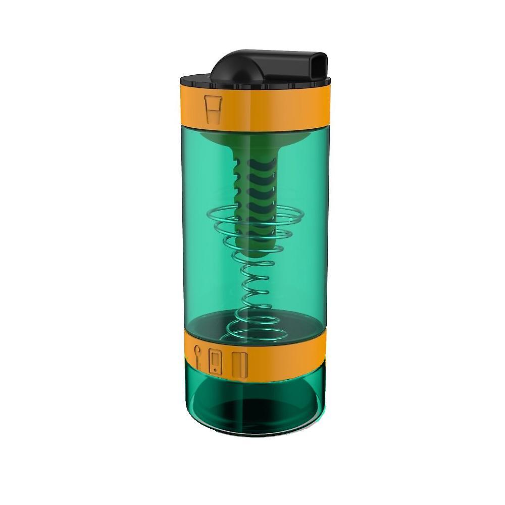Intelishake Techno oranje - Shaker fles multi compartiment eiwit/training/SAP met koolstof waterfilter voor sport training & sportschool