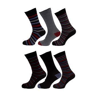 Tom Franks Mens Cotton Blend Striped Socks (6 Pairs)