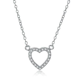 925 Sterling Silver Pave Elegant Heart Shape Necklace