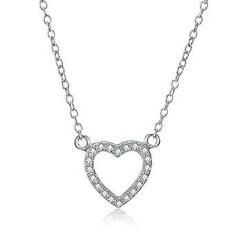 925 Sterling sølv bane Elegant hjerte form halskæde