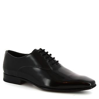 Leonardo Schuhe handgefertigt quadratischen Fuß Schnürer Herrenschuhe aus schwarzem Kalbsleder