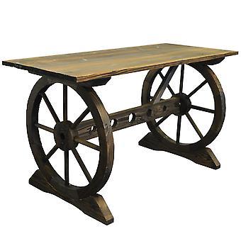 Garten Wagenrad Tisch - Outdoor-Massivholz