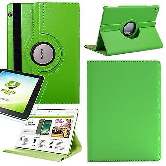 För Huawei MediaPad M5 lite 10,1 tum 360 graders ärm omslag ficka grön konst Läder fodral nya + 0,3 mm hårt glas