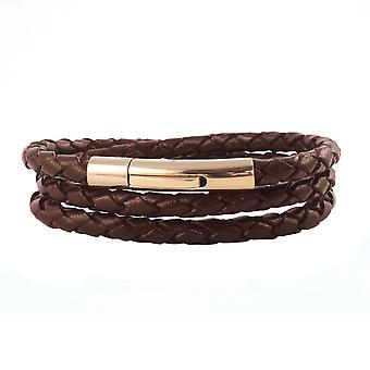 Lederkette Lederband 4 mm Herren Halskette Braun 17-100 cm lang mit Hebeldruck Verschluss Rose Gold geflochten