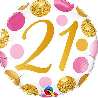 Qualatex 21 Pink & Gold Dots Round Foil Balloon