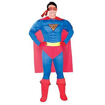 Mens superhjälte muskel Fancy Dress kostym