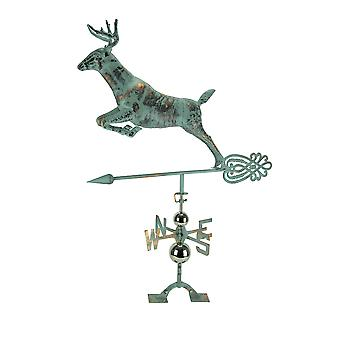 Verdigris Patina Metal Jumping Deer Weather Vane with Roof Mount