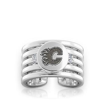 Calgary Flames Engraved Sterling Silver Diamond Multiband Cuff Ring