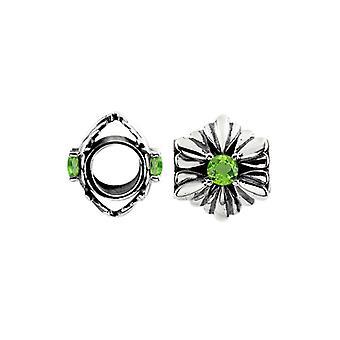 Storywheels Oxidiertes Silber & Peridot Blume Charme S455P